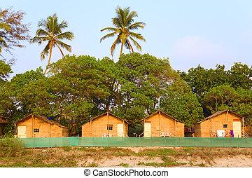 Tourist beach huts at Arambol Beach in Goa India