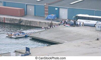 Tourist board excursion ship