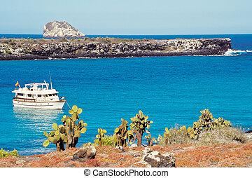 Tourist boat at Plaza Islands, Galapagos Islands, Ecuador -...