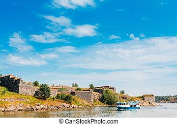 Tourist Boat Floats Near The Sea Fortress Of Suomenlinna. ...