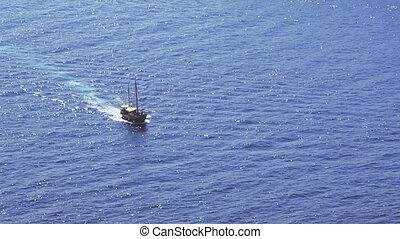 Tourist boat in the Dubrovnik waters. Croatia - Europe.