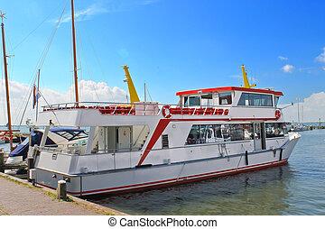 Tourist boat in the port of Volendam. Netherlands