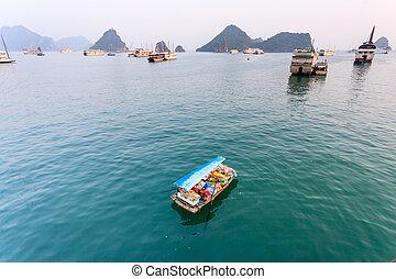 Tourist boat on Ha Long bay
