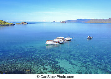 Tourist boats at Gili lawa island with a clear blue sea, Flores, Indonesia .
