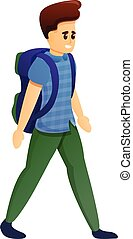 Tourist boy icon, cartoon style