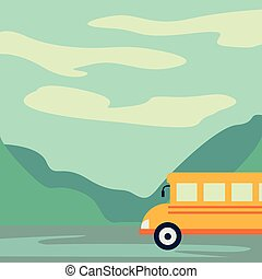 Tourist bus driving on the road vector illustration. Mountain landscape or background. Bus travel road. Bus highway
