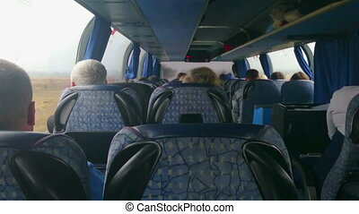 """""""Tourist bus full of passengers. People traveling on a..."""