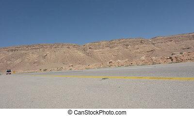 Tourist bus in Makhtesh Ramon Negev Desert Israel