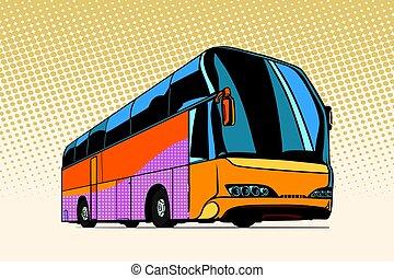 tourist bus, public transport. Pop art retro vector...