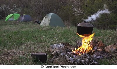 Tourist camp. Preparing food