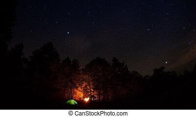 Tourist camp under a starry sky