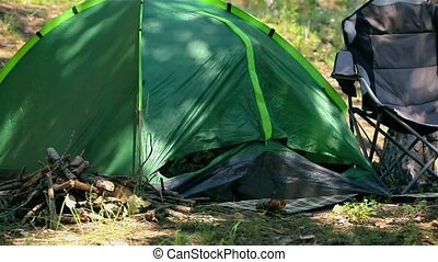 Tourist camping in the woods with a tent - Mother and...
