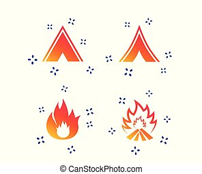 Tourist camping tent signs. Fire flame icons. Vector