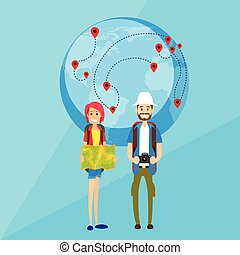 Tourist Cartoon People Couple Man and Woman Characters