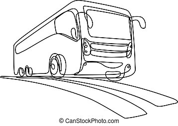 Continuous line drawing illustration of a tourist coach or shuttle bus low angle view done in mono line or doodle style in black and white on isolated background.