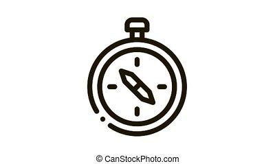 Tourist Compass animated icon on white background