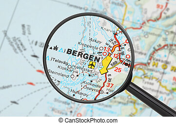 Destination - Bergen (with magnifying glass) - Tourist...
