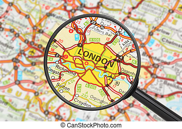 Tourist conceptual image: Destination - London (with magnifying glass)