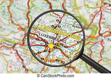 Destination - Luxembourg (with magnifying glass) - Tourist ...