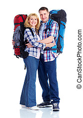 Couple with backpacks. Isolated over white background.