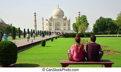Tourist Couple, Taj Mahal, India - Caucasian Tourist Couple...
