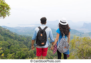 Tourist Couple With Backpack Standing On Mountain Top Back Rear View Enjoy Beautiful Landscape