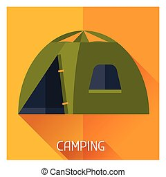 Tourist creative illustration of camping tent in flat style