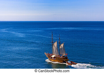 Tourist cruise on a pirate sailing ship