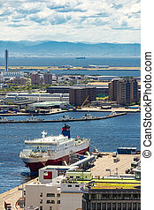 Tourist Cruise ship in Kobe - Aerial view of Tourist Cruise ...