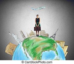 Tourist destination - Tourist chooses her destination for...