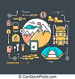 Tourist Equipment - Mountains with snow peaks and tourist...