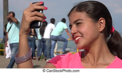 Tourist Female Taking Selfie