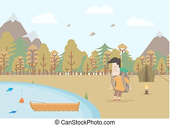 Tourist fishing in the fall
