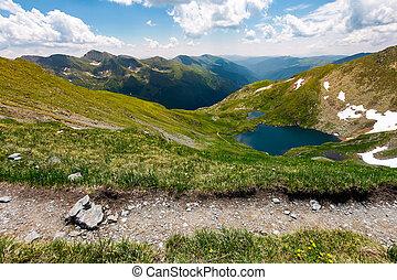 tourist foot path in Fagarasan mountains, Romania. gorgeous...