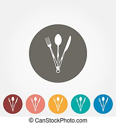 Tourist fork, spoon and knife icon.