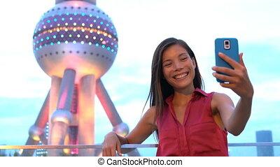 tourist, foto, nehmen, porzellan, perle, telefon, shanghai, ...