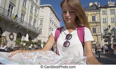 Tourist Girl Recognizing her Location