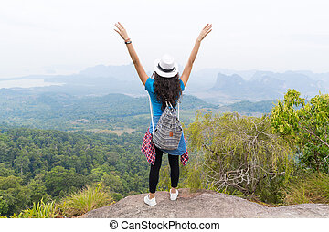Tourist Girl With Backpack Standing On Mountain Top Raised Hands Back Rear View Enjoy Beautiful Landscape