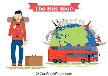 Tourist goes to The Bus Tour of popular familiar landmarks.