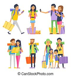 Tourist group of happy people goes to vacation. Couple or family with kids in traveling. Vector illustration