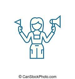 Tourist guide linear icon concept. Tourist guide line vector...