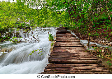 tourist, hölzern, nationalpark, seen, plitvice, pfad