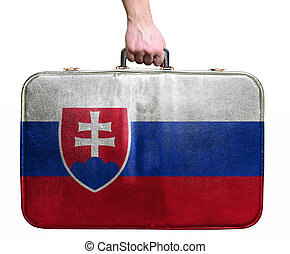 Tourist hand holding vintage leather travel bag with flag of...