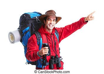 Tourist. Hiking - Hiker man tourist. Hiking. Isolated over...