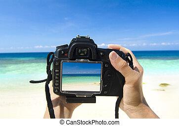 tourist holding camea on island