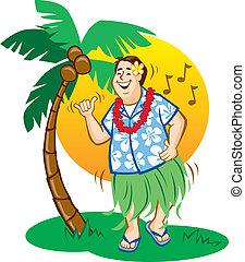 Tourist Hula Dance - Illustration of a tourist having fun...