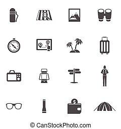 Tourist Icons Set - Tourist black icons set with flask map...
