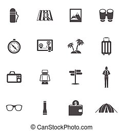 Tourist Icons Set - Tourist black icons set with flask map...