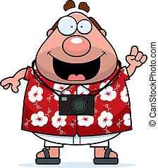 A happy cartoon tourist with an idea.