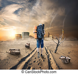Tourist in a sandy desert